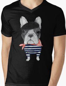 Frenchie With Arc de Triomphe Mens V-Neck T-Shirt