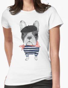 Frenchie With Arc de Triomphe Womens Fitted T-Shirt
