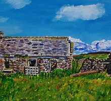 """""""Ruined Cottage and Farm Buildings on Longmore Road, Broughshane, County Antrim"""" by Laura Butler"""