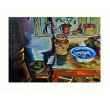"""Kitchen Window, Drumnahunshin Farmhouse, Cultra, County Down."" Art Print"
