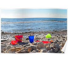 Buckets on the Beach Poster