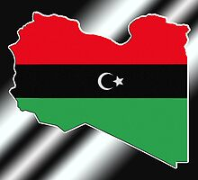 Republic of Libya Flag on Map by HighDesign