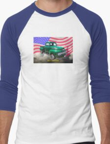 Green 1951 Ford F-1 Pickup With American Flag Men's Baseball ¾ T-Shirt