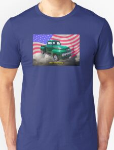 Green 1951 Ford F-1 Pickup With American Flag Unisex T-Shirt