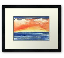 Warm sunset, watercolor Framed Print