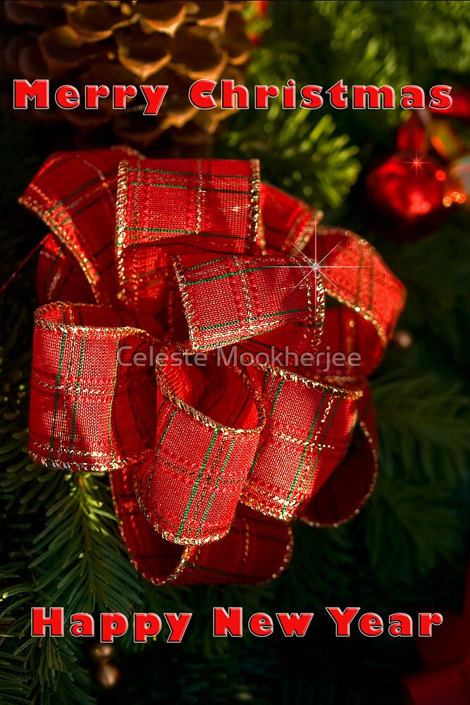 Holiday ribbon - Christmas card by Celeste Mookherjee