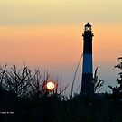 Lighthouse & Sun | Fire Island, New York by © Sophie W. Smith