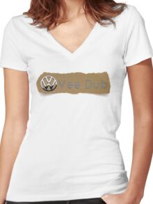Vee Dub VW Torn Look T-Shirt Women's Fitted V-Neck T-Shirt