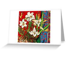 Christmas Lilies and Heliconias Greeting Card