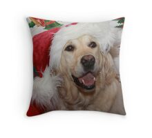 Happy Christmas Golden Retriever Throw Pillow