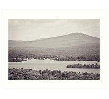 Black and White Mountain Waterscape Art Print