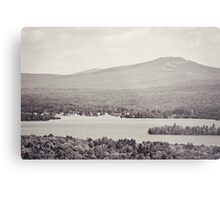 Black and White Mountain Waterscape Metal Print