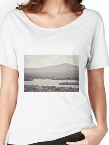 Black and White Mountain Waterscape Women's Relaxed Fit T-Shirt