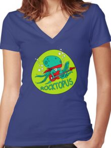 The Amazing RocktOpus Women's Fitted V-Neck T-Shirt