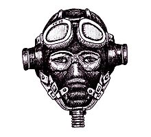 WW2 Pilot in Mask black and white pen ink drawing Photographic Print