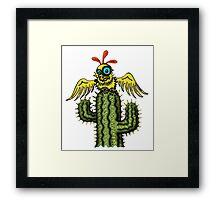 Wrong Landing funny bird on cactus cartoon art Framed Print
