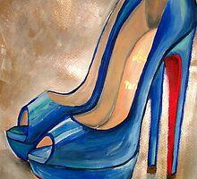 Christian Louboutin Electric Blue Red Bottom Peep Toe Pumps by Arts4U
