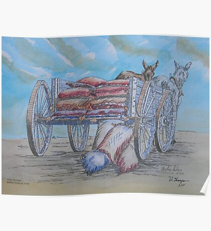 Feed Wagon Watercolor Poster