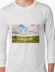 Sunny Lakeside Landscape Long Sleeve T-Shirt