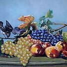 """Still life with fruits and a bird"" by Gabriella Nilsson"