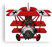 Red Baron airplane funny cartoon Canvas Print