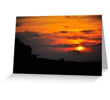 Sunset with Barn Greeting Card