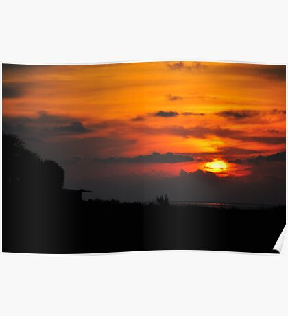 Sunset with Barn Poster