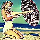 MARILYN MONROE WITH UMBRELLA. by Terry Collett