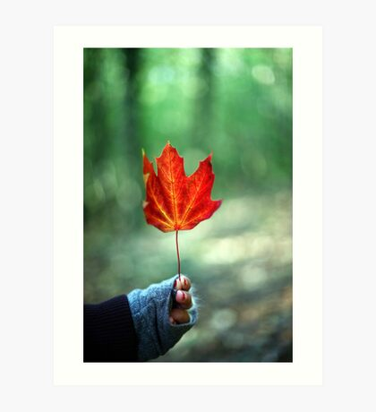 Girl holding Red Autumn Leaf Art Print