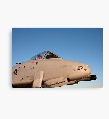 A-10 Warthog with the moon in the background Canvas Print