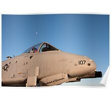 A-10 Warthog with the moon in the background Poster