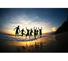 Group of Friends Jumping on Beach at Sunset Photographic Print