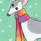 Greyhound Wearing Rainbow Scarf in the Snow by zoel