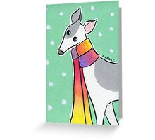 Greyhound Wearing Rainbow Scarf in the Snow Greeting Card