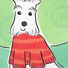Scotty Dog in Red Christmas Jumper by Zoe Lathey