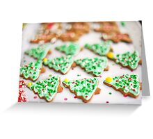 Frosted Christmas Tree Cookies with Sprinkles Greeting Card
