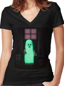 Glow in the Dark Ghost Women's Fitted V-Neck T-Shirt
