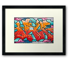 Colorful Abstract Graffiti detail on the textured wall Framed Print