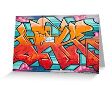 Colorful Abstract Graffiti detail on the textured wall Greeting Card