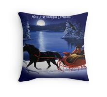 Moonlight Ride - Have A Wonderful Christmas Throw Pillow