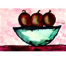 Apples in and old bowl, watercolor Photographic Print