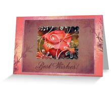 Pinky Orange Rose Best Wishes Card Greeting Card