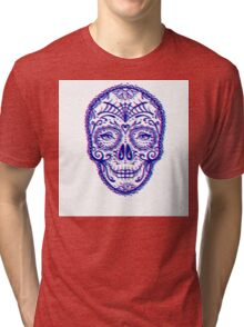 Sugar Skull (Calavera) Chromatic Aberration - Cyan Magenta Tri-blend T-Shirt