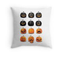 Black and Orange Jack 'o Lanterns Throw Pillow