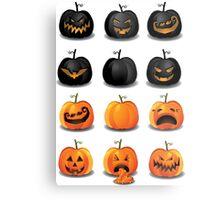 Black and Orange Jack 'o Lanterns Metal Print