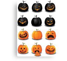 Black and Orange Jack 'o Lanterns Canvas Print