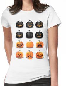 Black and Orange Jack 'o Lanterns Womens Fitted T-Shirt
