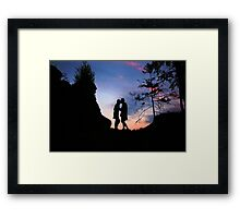 Couple Kissing at Sunset Framed Print