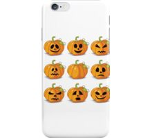 Orange stylized Jack O' Lanterns for Halloween or whenever iPhone Case/Skin