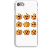 Orange stylized Jack O' Lanterns for Halloween or whenever iPhone Case/Skin